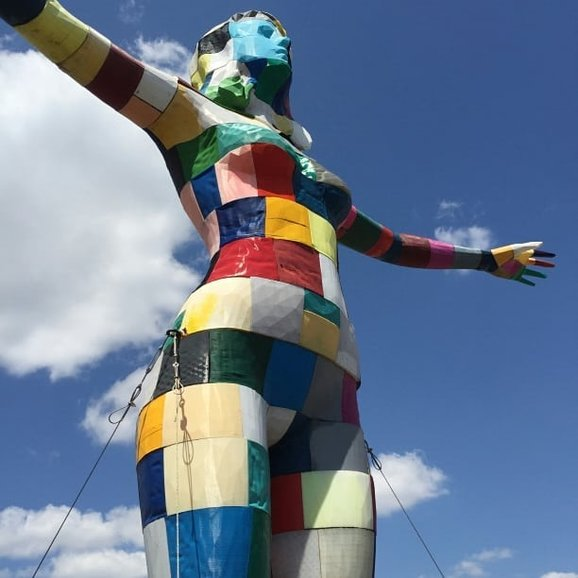 LX Factory patchwork lady statue