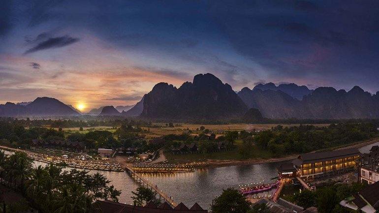 Namson river and mountains in Vang Vieng