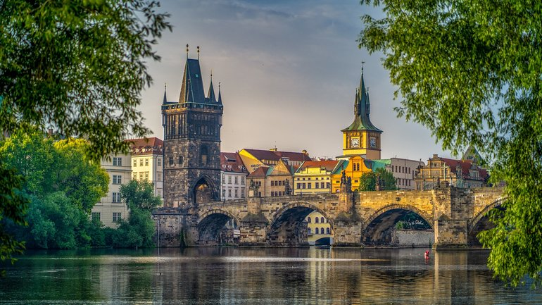 Charles Bridge, historical bridge crossing the  the Vltava river in Prague city center