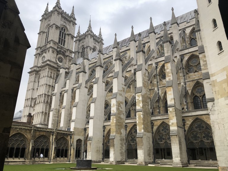 The view of the immense Westminster Abbey from the cloisters