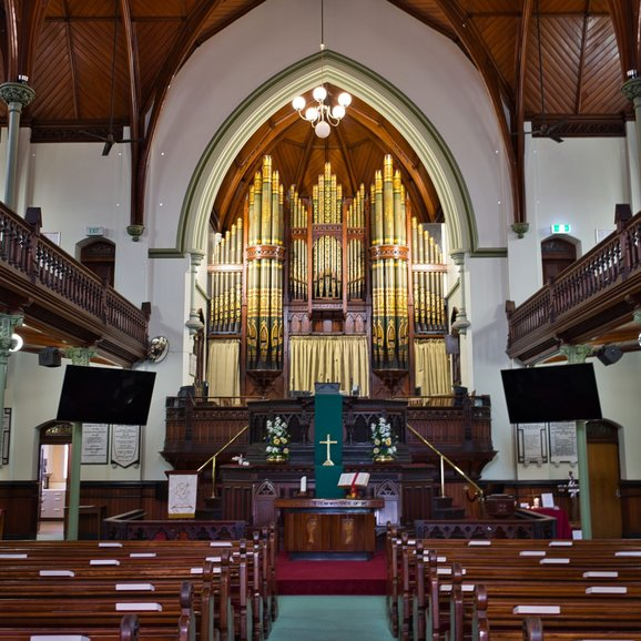Inside the Albert Street Uniting Church is a quiet reprieve from the hustle and bustle outside
