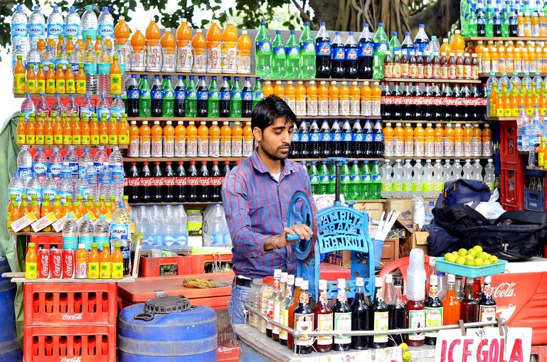 Store selling bottled water in India