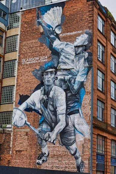 There are a few murals dedicated to the Commonwealth Games which were held in Glasgow in 2014