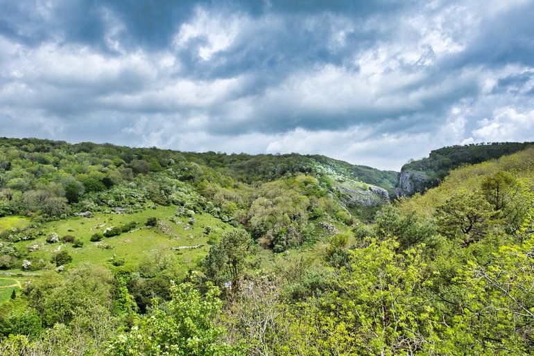 Looking back towards the cliff-top walk and Cheddar Gorge