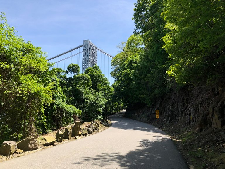 Ride along side the Hudson River with the George Washington Bridge
