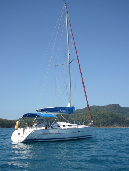 Anchorage of a sailing yacht in the Whitsunday Islands