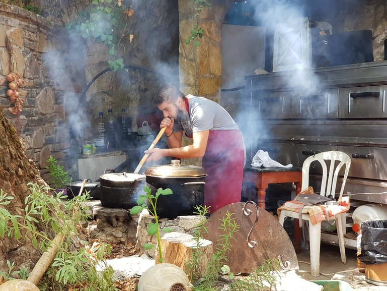 Chef Yianis cooking the traditional way