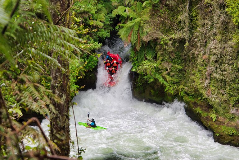 Rafters going over Tutea Falls