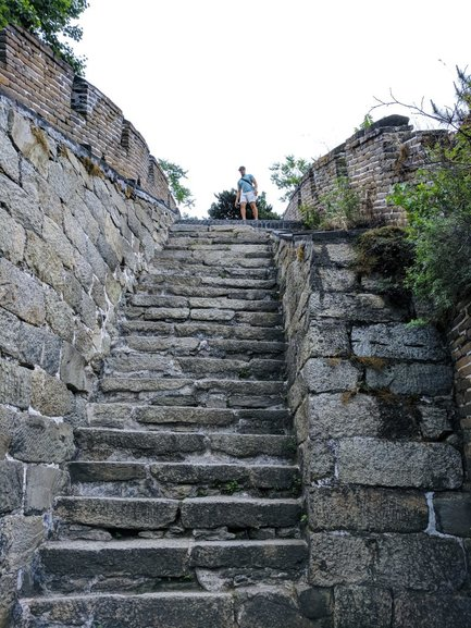 The steps on the Mutianyu Great Wall section are very steep. They make for a challenging and invigorating hike