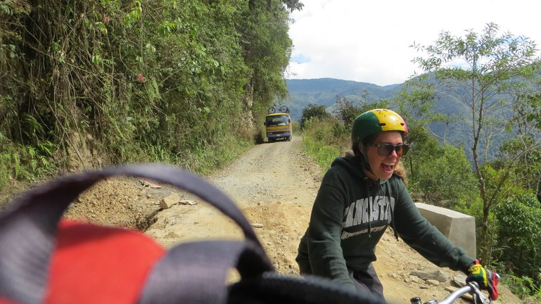 Me, cycling into Coroico, Bolivia, along the Death Road