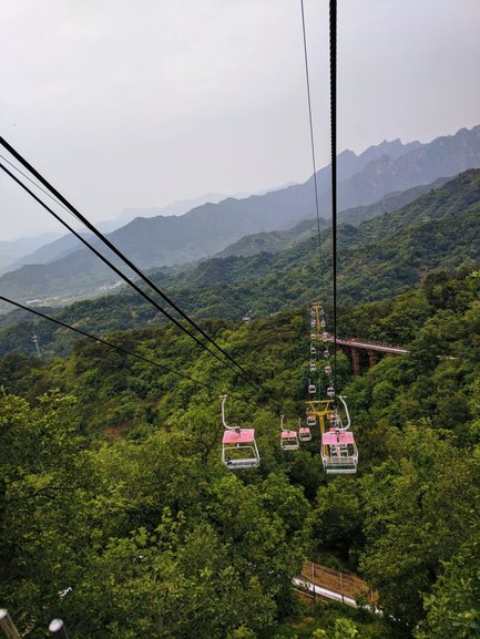 The gondola ride to the Great Wall of China at the Mutianyu section is fun and allows you to feel the enormity of the Wall.