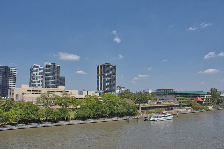 Queensland Museum, Queensland Art Gallery, State Library and Gallery of Modern Art along the Brisbane River