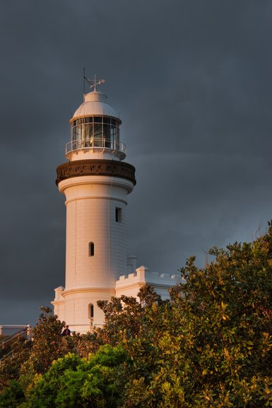 The colours of the first light hitting the Cape Byron Lighthouse