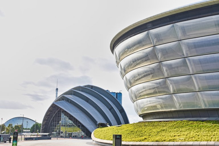 The Armadillo and SSE Hydro and Science Centre behind them