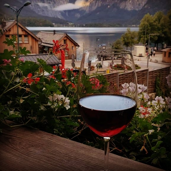 Having wine in Hallstatt, Austria
