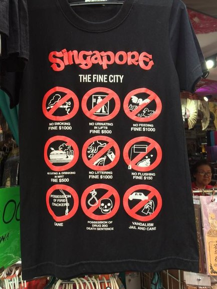 T-shirts guiding (or warning) travelers about the rules