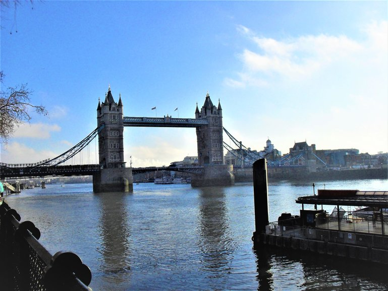 The view of Tower Bridge from the Tower of London