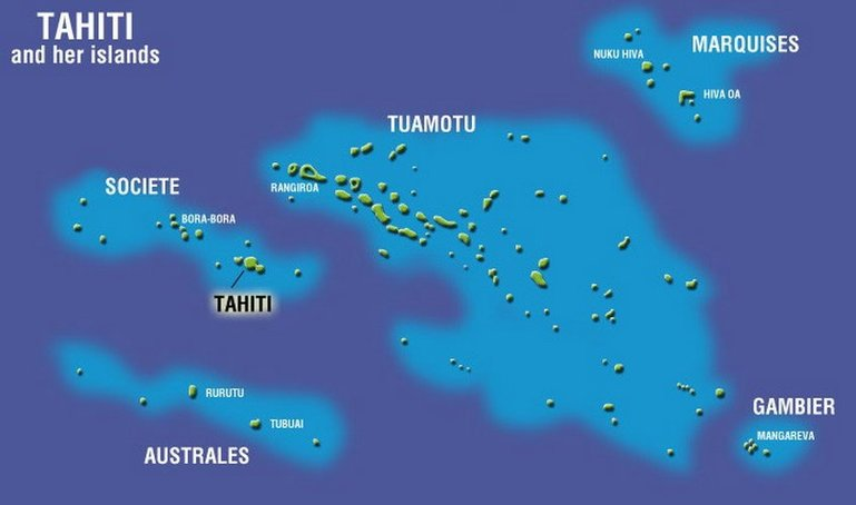 Map of Polynesian archipelagos