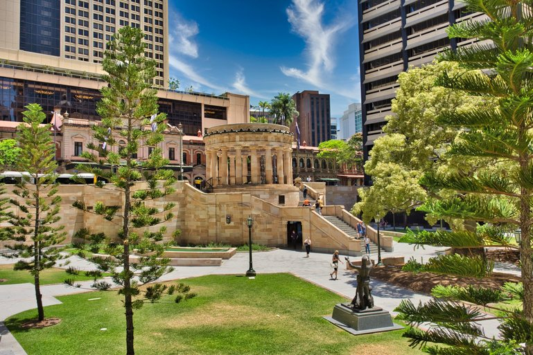 The War Memorial at the head of ANZAC Square with the Memorial Halls underneath