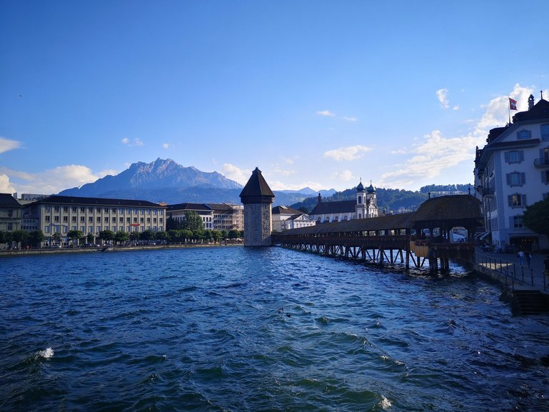 Trademark of Lucerne,wooden bridge