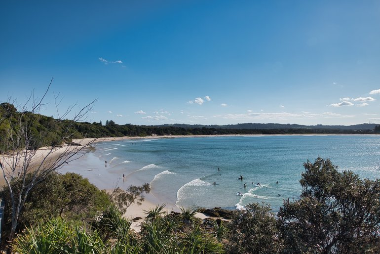 View of Byron Beach from the road lookout
