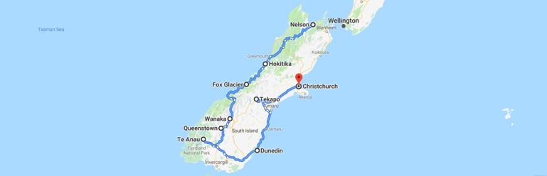Two week road trip route