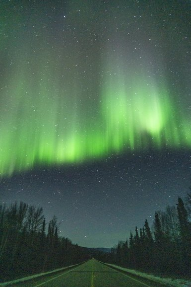 Aurora borealis dancing above the Steese Highway