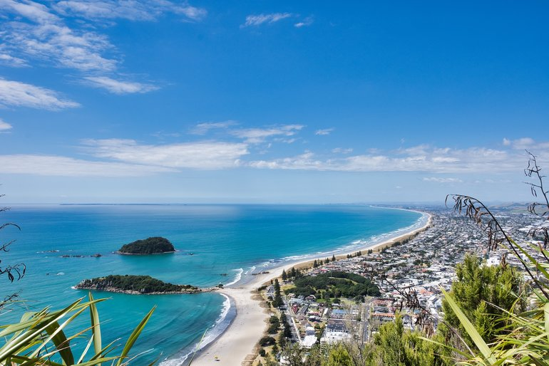 The view from the Summit. Mount Maunganui and Papamoa Beaches