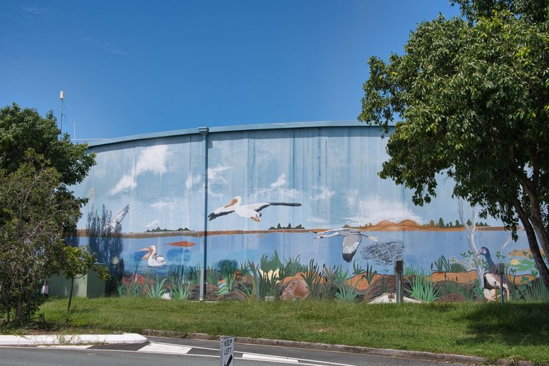 The colourful water tank on Morris Road that highlights the wildlife in the area