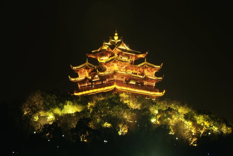 Chenghuang Pavilion in its night glow
