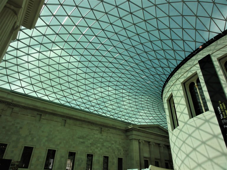 The amazing glass-roofed foyer of the British Museum