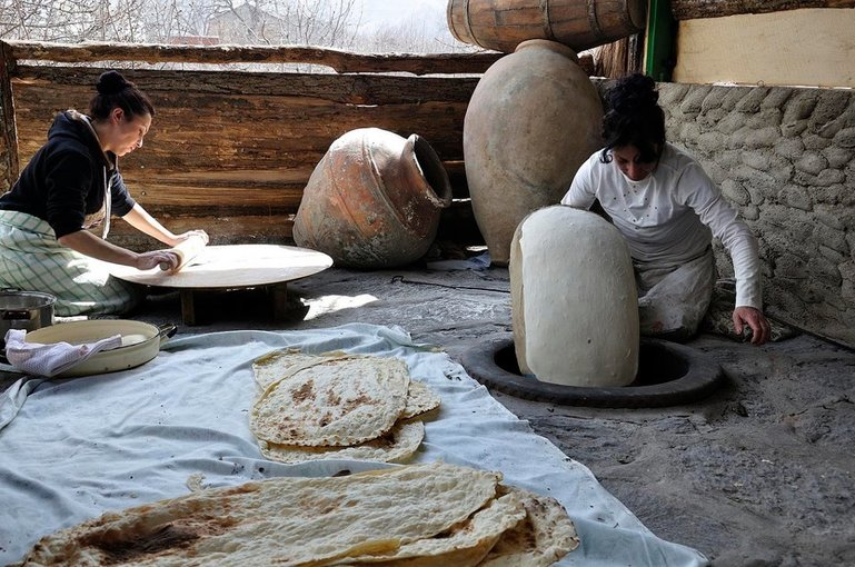 Lavash making process