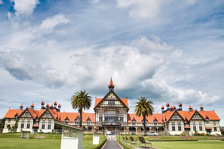 The beautiful building housing the Rotorua Museum. At the moment it's closed as it's being reinforced against earthquakes