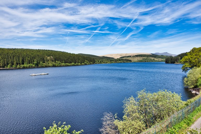 The blue waters of Pontsticill Reservoir