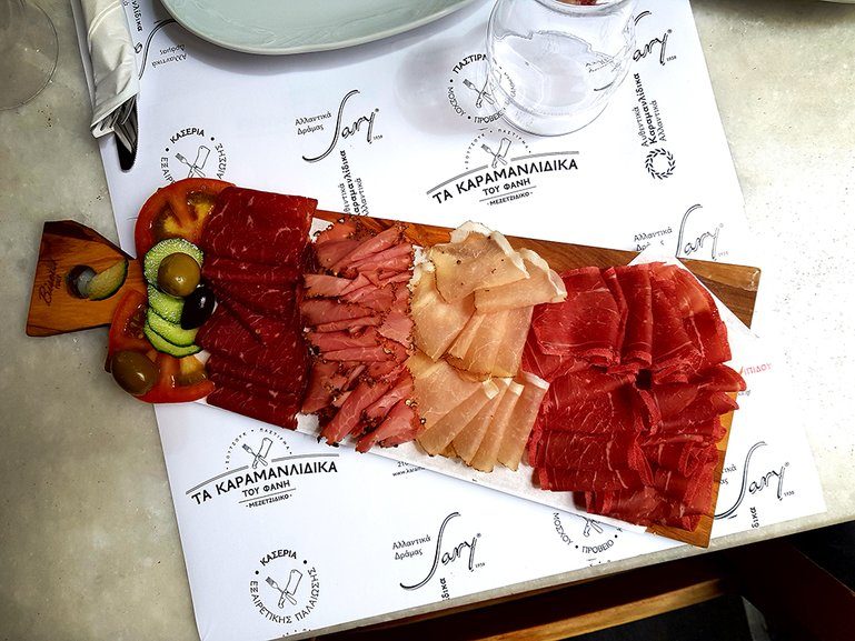 Variety of Greek  cold cuts
