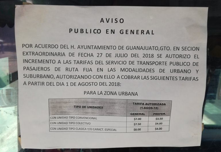 Bus prices in Guanajuato since August 2018
