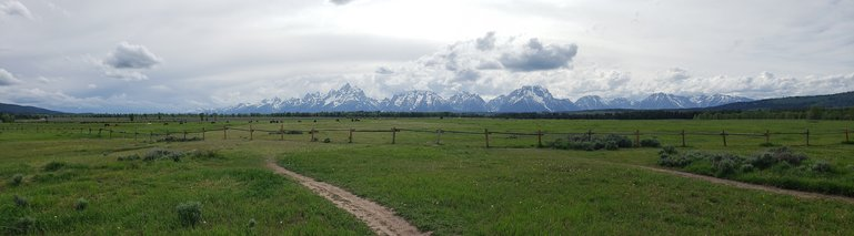 Panorama with Wyoming's Grand Tetons in the background