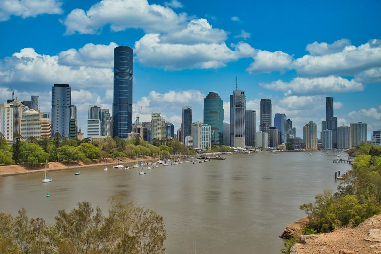 The view of the city skyline from the Kangaroo Point Cliffs