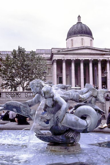 One of the many fountains in Trafalgar Square