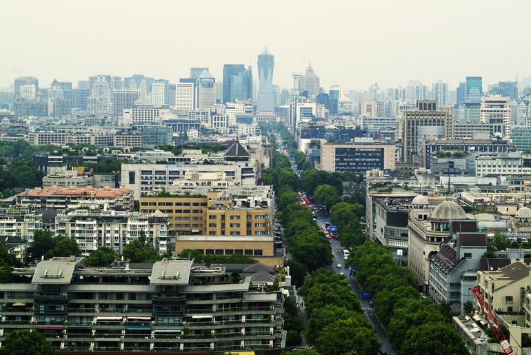 The view over Hangzhou's central district from Chenghuang Pavilion