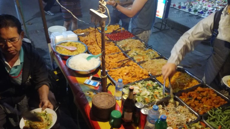 Luang Prabang night market vegan food stand