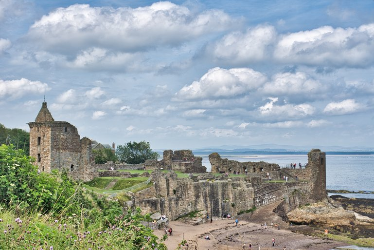 Looking Back on St Andrews Castle and the beach below