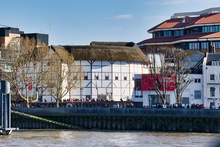 The Globe as seen from the River Thames
