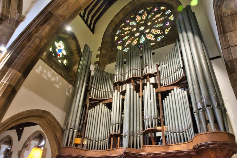 The organ pipes are fully restored and beautifully displayed.