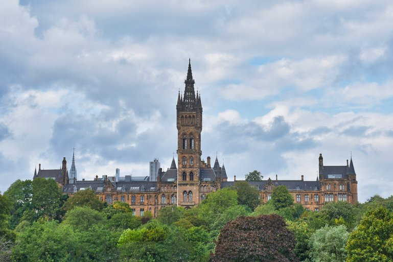 Glasgow University is standing tall at the top of Kelvingrove Park