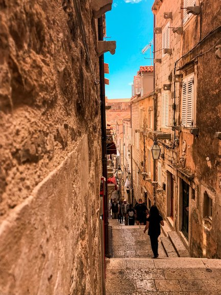 Typical street in Old Town Dubrovnik