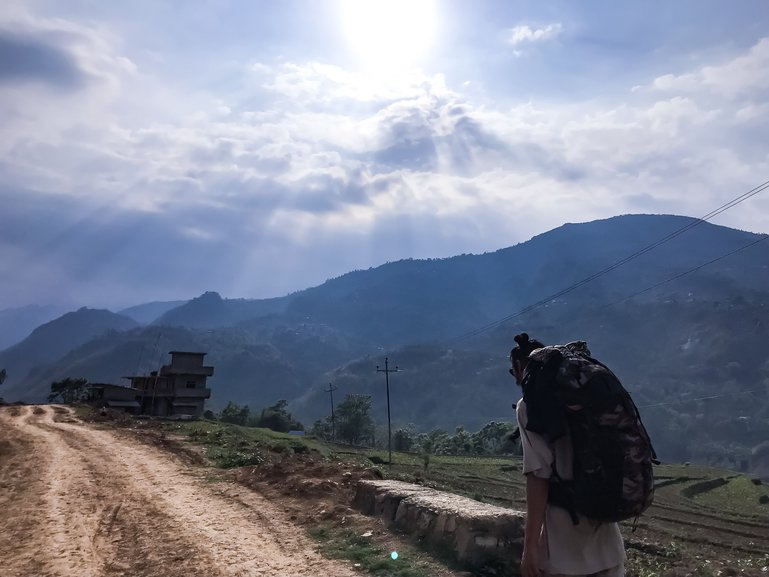 backpacking through the mountains of Nepal