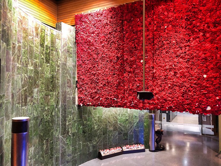 Greenstone Memorial and Poppy Wall hanging from the ceiling