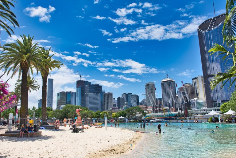 Streets Beach at Southbank Parklands is a great place to cool off on a hot summers day in the city