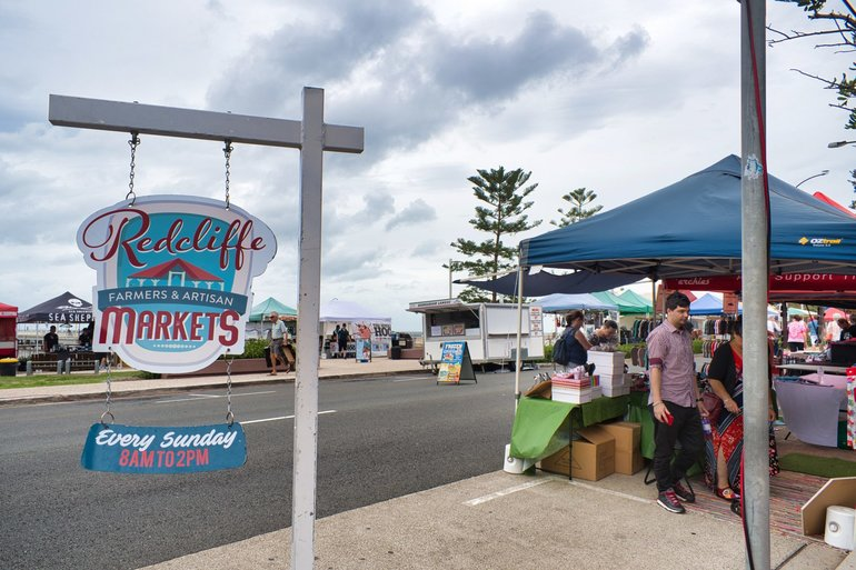 The Redcliffe Parade is shut down for the Sunday Street Markets